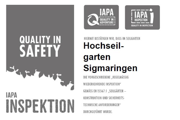 Sicherheit Sigmaringen Kletterpark Zertifikat IAPA